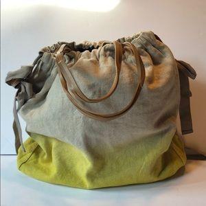 NWT cotton linen yellow ombré tote bag GAP